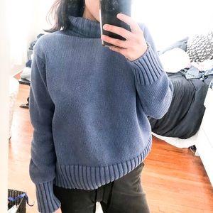 L.L bean 100% cotton blue sweater turtleneck